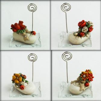 Portafoto Memo Clip in vetro Scarpetta in resina con Fiori e Coccinella Portafortuna
