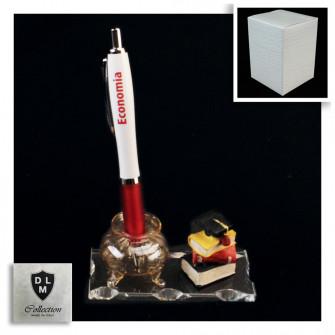 PortaPenne Calamaio in vetro soffiato con Penna per Laurea in Economia Studente Libri Tocco in resina