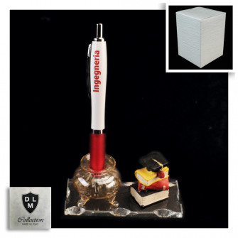 PortaPenne Calamaio in vetro soffiato con Penna per Laurea in Ingegneria Informatica Gestionale Ingegnere Studente Libri Tocco in resina