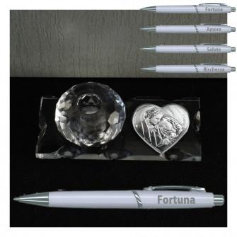 PortaPenne in Vetro e Cristallo con Penna e Icona Cuore Sacra Famiglia
