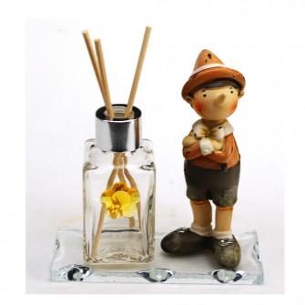 Profumatore in vetro con Pinocchio Burattino Marionetta Favola Fiaba Nascita Battesimo Comunione Diffusore profumo