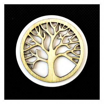 Calamita Magnete Tonda in legno con Albero della Vita Segnaposto Pensierino Confettata