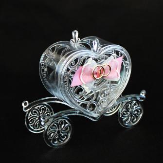 Scatolina carrozza sposi in plastica rigida con fiocco e fedi