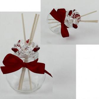 Profumatore Barattolo con fiore in Cristallo Nastrino colorato Diffusore Ambiente