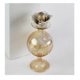 Profumatore Bottiglia Fiore Bimbo Battesimo Porta Profumo Ambra in vetro soffiato Diffusore Ambienti
