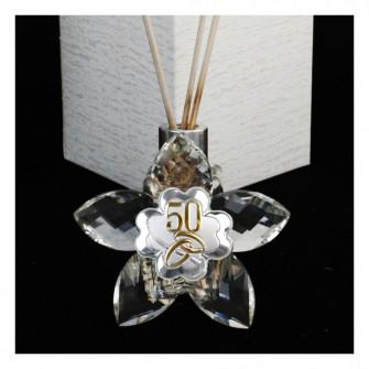 Profumatore Fiore 5 petali in Cristallo con Quadrifoglio Coppia Fedi 50 Anniversario Nozze D'oro Cinquantesimo Diffusore per Ambienti Profumo