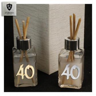 Profumatore in Vetro 40 Quarantesimo Compleanno Anniversario di Nozze in legno Diffusore per Ambienti Profumo