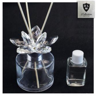 Profumatore in vetro con Fiore in Cristallo Shabby Chic Diffusore Matrimonio Battesimo Comunione Nozze
