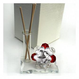 Profumatore in vetro e cristallo con Icona Quadrifoglio Laurea Cappello Tocco Pergamena Tesi Diffusore Profumo Ambienti