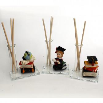 Profumatore in vetro e Resina Libri con Mappamondo Laurea Cappello Tocco Pergamena Diffusore Profumo Ambienti