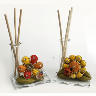 Profumatore in vetro e Resina Quadrifoglio Girasole con Farfalla e Coccinella Portafortuna Nozze Battesimo Comunione Diffusore Profumo Ambienti