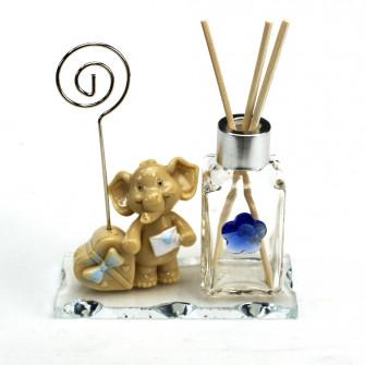 Profumatore in vetro Portafoto Memo Clip con Elefante Elefantino Azzurro Regalo Cuore Nascita Battesimo Comunione Diffusore profumo
