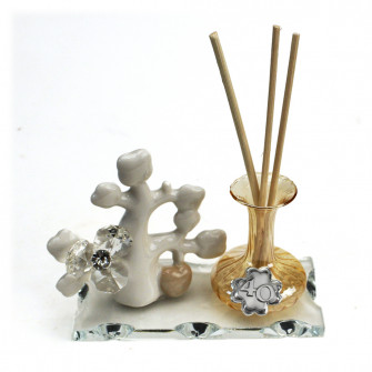 Profumatore in vetro soffiato Albero della Vita con Fiore in Cristallo Quadrifoglio 40 Anniversario Nozze D'oro Quarantesimo Compleanno