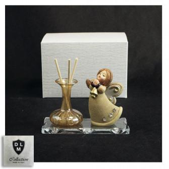 Profumatore in vetro soffiato con Angelo Angioletto Puttino con Campana Natale con Strass Nozze Battesimo
