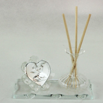 Profumatore in vetro soffiato e cristallo 25 Anniversario Nozze Matrimonio
