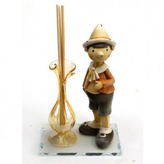 Profumatore in vetro soffiato Pinocchio Burattino Marionetta Favola Fiaba Nascita Battesimo Comunione Diffusore Ambienti