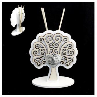 Profumatore Moderno in Legno Bianco con Cuore Albero della Vita Laurea Cappello Pergamena Tesi Shabby Chic Diffusore Profumo