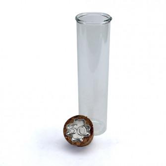 Provetta Portaconfetti in vetro Shabby Chic Quadrifoglio 30 Anniversario Nozze Trentesimo Compleanno con Tappo Sughero Confettata