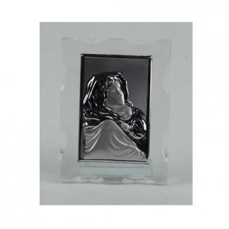 Quadretto in vetro Icona Sacra Madonna con Bambino Nozze Comunione Battesimo