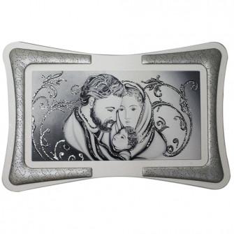 Quadro Arredo Silver Sacra Famiglia Soggiorno Salotto Camera da Letto Cucina Ufficio Bar Regalo Misure 90X60