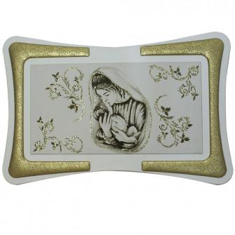 Quadro Maternità Madonna Bambino con Cornice in Ecopelle con Inserto in Fili Argento Arredo Salotto Camera da Letto Cucina 90X60