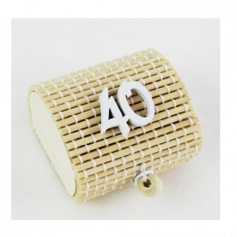Scatola Portaconfetti in Bambu 40 Quarantesimo Compleanno Bianco Bambù Confettata Segnaposto