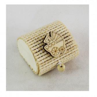 Scatola Portaconfetti in Bambu Culla Culletta Passeggino Carrozzina Nascita Bambù Confettata Segnaposto