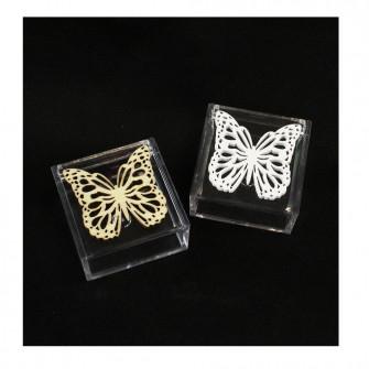 Scatola portagioie in plexiglass con Farfalla Farfalle in Legno Porta Confetti Confettata