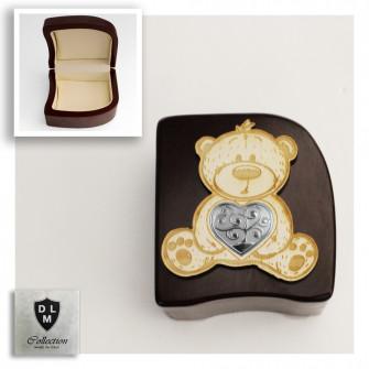 Scatola Portagioie Orso Orsetto con Cuore Albero della Vita Svuotatasche Portagioielli Beauty Case
