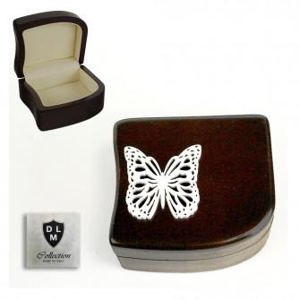 Scatola Portagioie Svuotatasche in Legno Farfalla Butterfly Matrimonio Battesimo Comunione