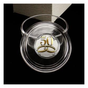 Scatola Scatolina Portagioie in Vetro con Icona Fedi 50 Anniversario D'oro Cinquantesimo Matrimonio Confetti Confettata Segnaposto