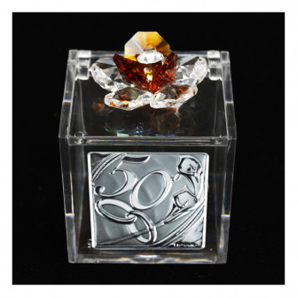 Scatolina Cofanetto Portaconfetti con fiore in cristallo e Icona Coppia Fedi 50 Anniversario Nozze D'oro Cinquantesimo