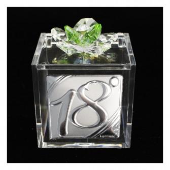 Scatolina Cofanetto Portaconfetti con fiore in cristallo e Icona Festa 18 Anni Diciottesimo Compleanno