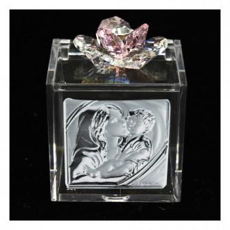 Scatolina Cofanetto Portaconfetti con fiore in cristallo e Icona Madonna con Bambino Matrimonio Comunione