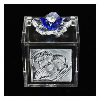 Scatolina Cofanetto Portaconfetti con fiore in cristallo e Icona Sacra Famiglia Matrimonio Comunione