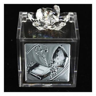 Scatolina Cofanetto Portaconfetti con fiore in cristallo e Icona Santa Cresima