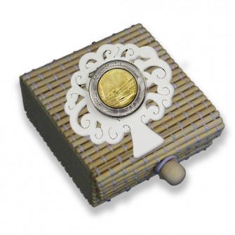 Scatolina per confetti in bambù Albero della Vita con Moneta Lira Lire Repubblica Italiana 1946-2001 Pre-euro Monete d'Epoca