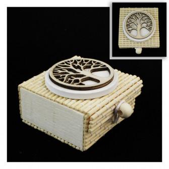Scatolina per confetti in bambù con Albero della Vita Confettata Segnaposto