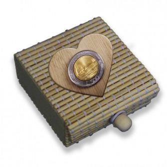 Scatolina per confetti in bambù Cuore con Moneta Lira Lire Repubblica Italiana 1946-2001 Pre-euro Monete d'Epoca