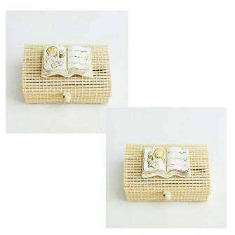 Scatolina porta confetti in bambu con Libro Calice Comunione Bimbo Bimba