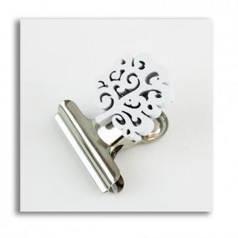Segnalibro Clip Pinza Fermacarte Portafoto con Albero della Vita Bianco in Legno