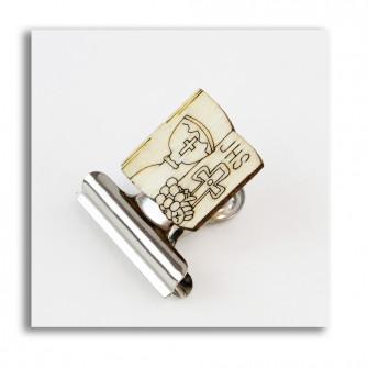 Segnalibro Clip Pinza Fermacarte Portafoto con Libro Calice Prima Comunione