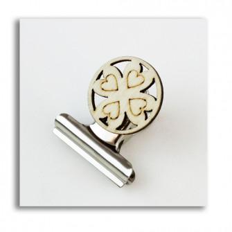 Segnalibro Clip Pinza Fermacarte Portafoto con Quadrifoglio in legno Portafortuna