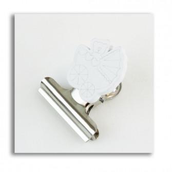 Segnalibro Clip Pinza Fermacarte Portafoto Bianco Culla Culletta Passeggino Bianco Carrozzina Nascita