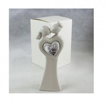 Statuina in ceramica Coppia Sposi Bacio 50 Anniversario Fedi Icona Cuore Amore Nozze