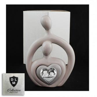 Statuina in ceramica Cuore Coppia Sposi Stilizzata Angeli Angioletti Puttini Icona Amore Nozze