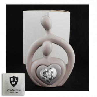 Statuina in ceramica Cuore Coppia Sposi Stilizzata Madonna con Bambino Icona Amore Nozze