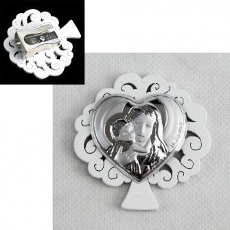 Temperamatite Albero della Vita in Legno con Cuore Madonna con Bambino Matrimonio Battesimo Comunione Temperino