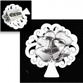 Temperamatite Albero della Vita in Legno con Quadrifoglio Portafortuna Laurea Cappello Pergamena Tesi Temperino
