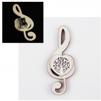 Temperamatite Cuore Chiave di Sol Violino Albero della Vita Bianco Life Tree in legno Musica Segnaposto Musica Temperino